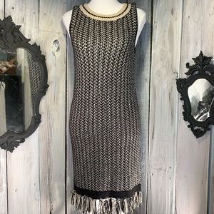 ROMEO & JULIET Black/Tan Sleeveless Sweater Dress